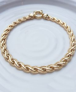 9ct Yellow Gold Textured Spiga Bracelet 7.5''