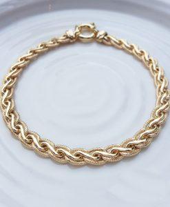 9ct Yellow Gold Textured Spiga Bracelet 7.5''