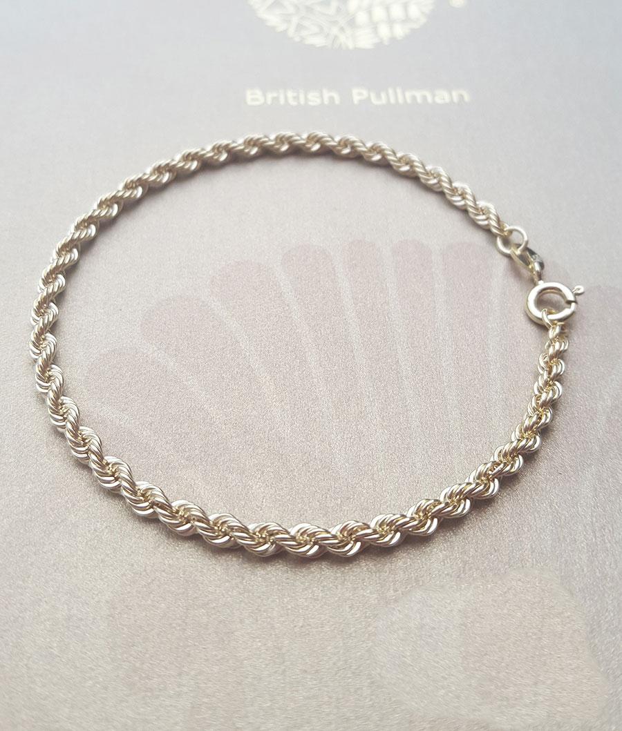 9ct Rose Gold on Silver Fancy Ladies Rope Bracelet ~