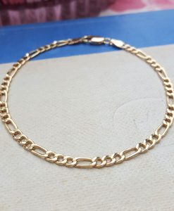 9ct Yellow Gold Figaro Bracelet 7""