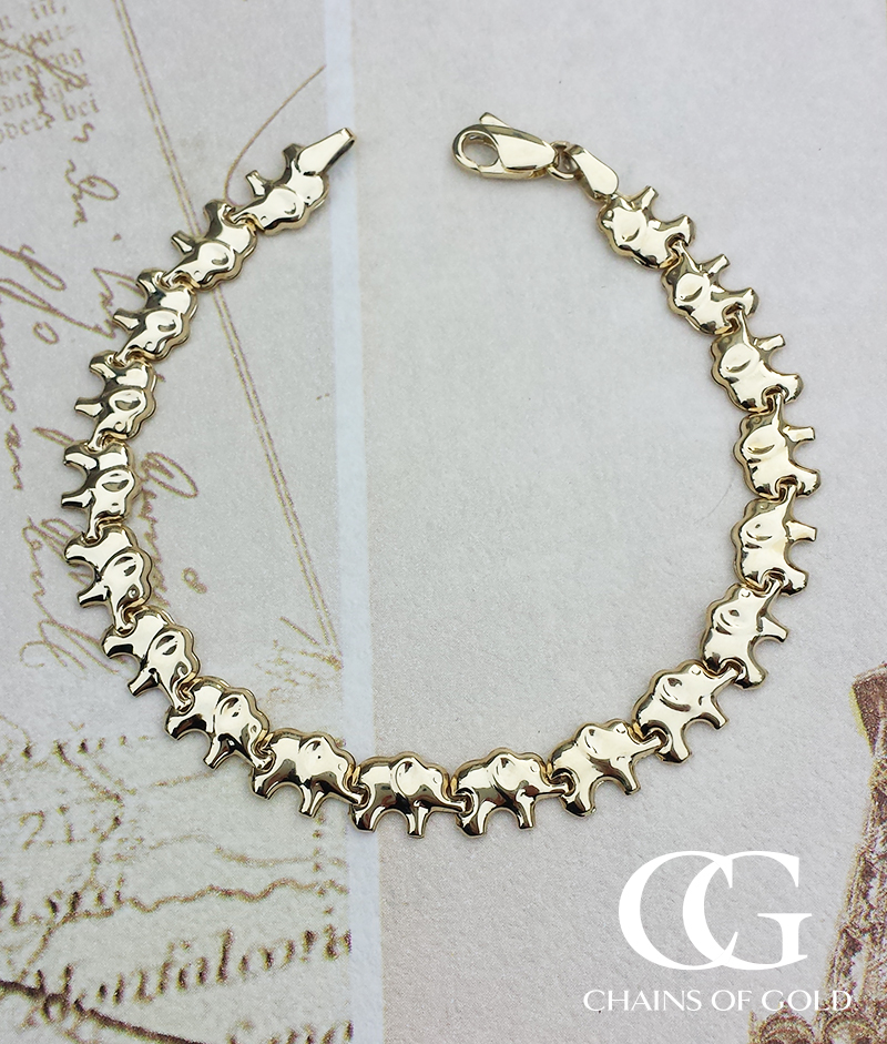 9ct yellow gold elephant link bracelet 7 5 chains of gold