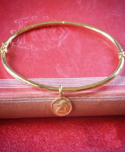 9ct Yellow Gold Round Tube Bangle with Angel Charm