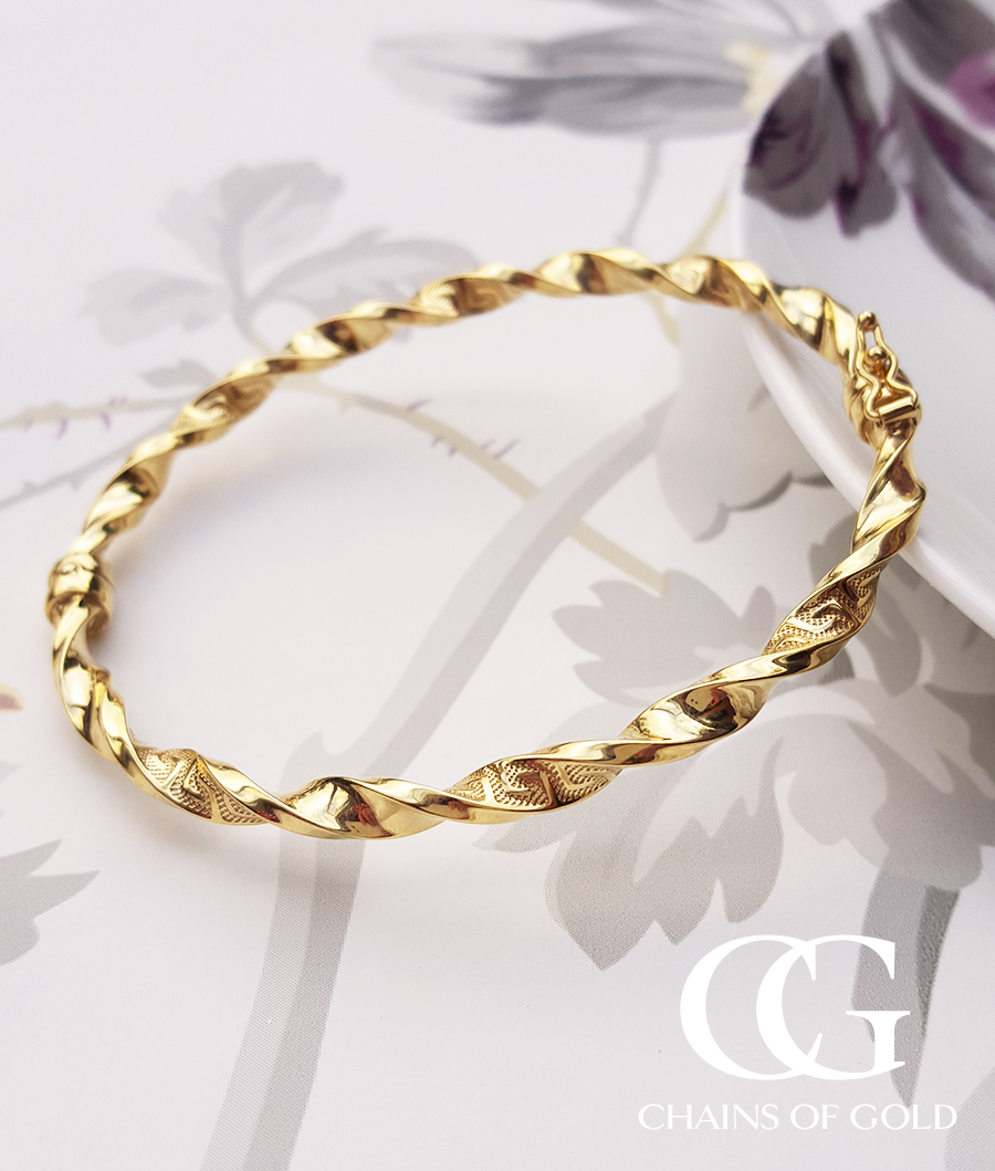 twist gold bangles yellow in rose white bracelet