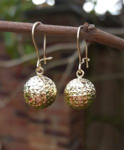 9ct Yellow Gold Diamond Cut Ball Drop Earrings