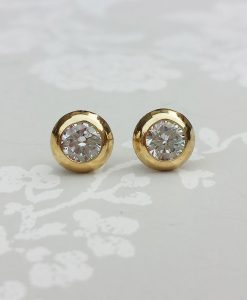 9ct Yellow Gold 5mm Round Doughnut Cubic Zirconia Stud Earrings