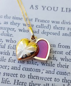 9ct Yellow Gold Heart Locket Pendant & Chain