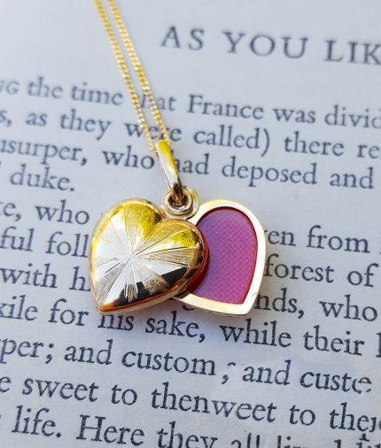 9ct Yellow Gold Heart Locket Pendant & Chain