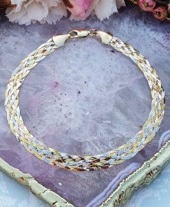 3 colour gold herringbone bracelet