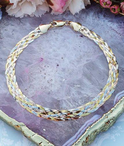 3 colour gold herringbone bracelet