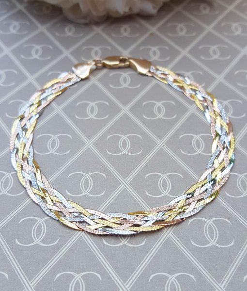Fine 9ct Three Colour Gold Six Plait Herringbone Bracelet