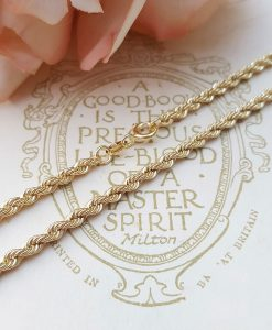 "9ct Yellow Gold 3.2mm Rope Chain Necklace 20"" 22"" 24"""