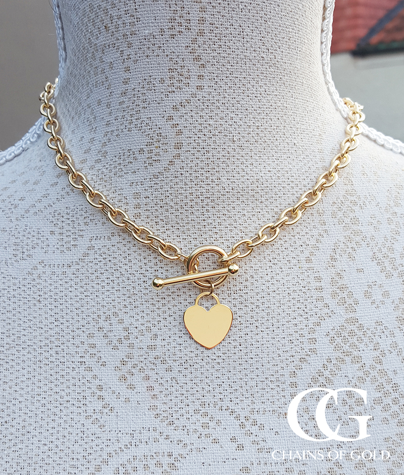Chunky Ladies 9ct Yellow Gold Heart Charm Belcher Chain