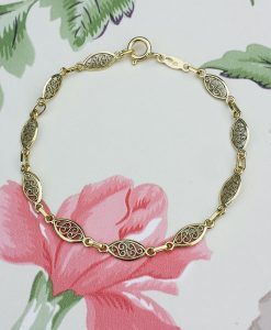 9ct Yellow Gold Filigree Oval Bracelet 7''