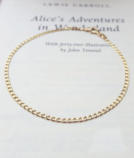 9ct Yellow Gold Small Flat Curb Bracelet 7''