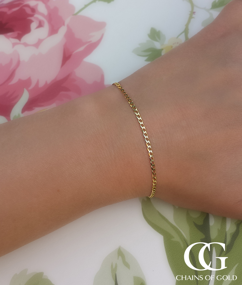 Ladies 9ct Yellow Gold Small Flat Curb Bracelet Chains Of Gold