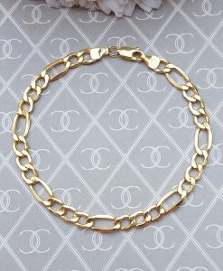 9ct Yellow Gold Hollow Figaro Bracelet 19 cm