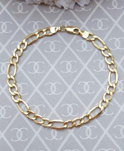 9ct Yellow Gold Hollow Figaro Bracelet 19 cm