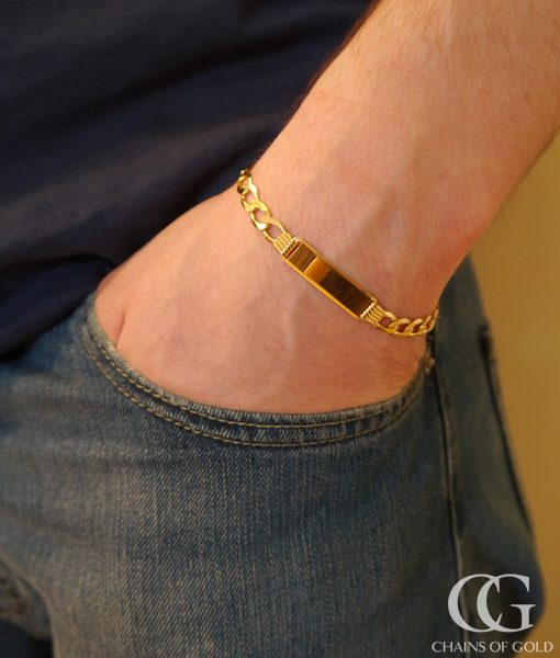 Personalised Men S 9ct Yellow Gold Curb Id Bracelet 8