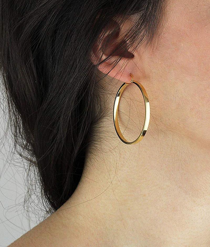 9319f3ea9156b Large 9ct Gold Hoop Earrings in Yellow & Rose 4cm