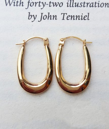 9ct Yellow Gold Polished Oval Creole Earrings