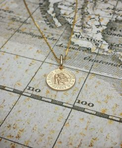 9ct Yellow Gold 1.2cm St Christopher Pendant & Chain