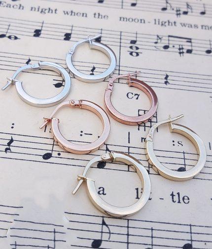 9ct Gold 1.6cm Hoop Earrings in Rose, White & Yellow