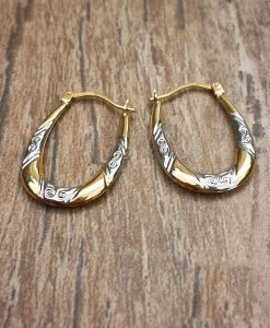 9ct Two Colour Gold Patterned Hoop Earrings