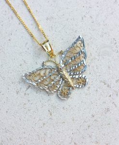 9ct Two Colour Gold Diamond Cut Butterfly Necklace