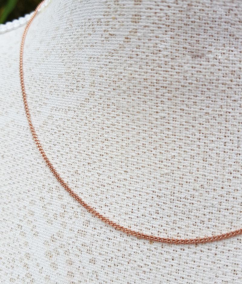 1mm Diamond Cut Curb Chain 16 18 20 inches 9ct Rose Gold