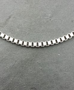 9ct White Gold Box 2.1mm Chain Necklace 20""