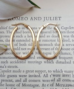 9ct Yellow Gold Square Tube Oval Hoop Earrings