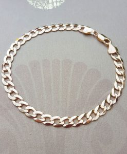 Men's 9ct Yellow Gold 5mm Solid Curb Bracelet 8.5""