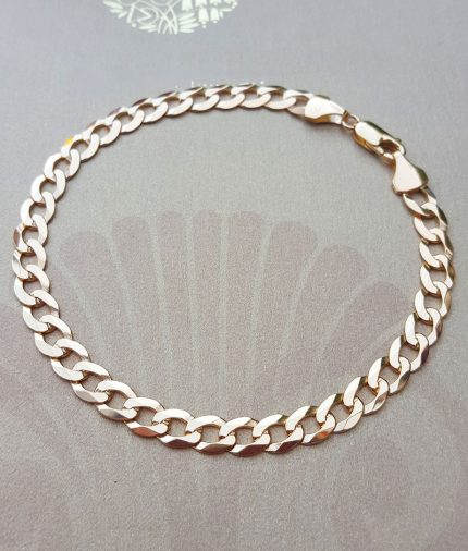 """Men's 9ct Yellow Gold 5mm Solid Curb Bracelet 8.5"""""""