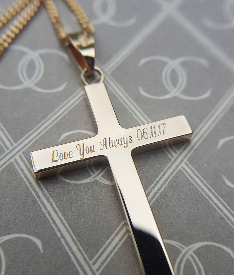9ct Solid Yellow or White Gold Cross Pendant (Medium & Large)