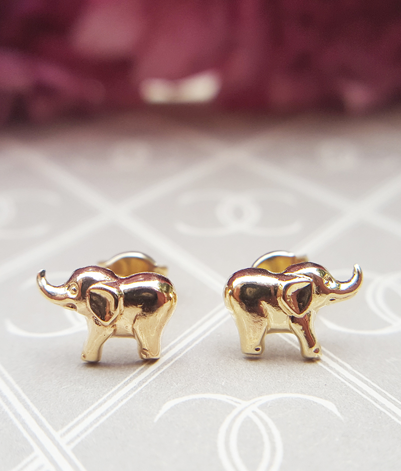 Small Children S 9ct Yellow Gold Elephant Stud Earrings