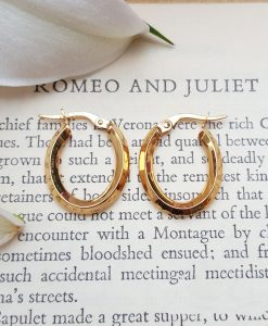 9ct Yellow Gold Polished Oval Hoop Earrings