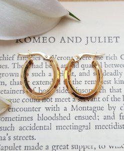 9ct Yellow Gold Polished Oval Hoop Earrings
