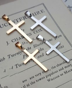 9ct Solid Yellow or White Gold Cross Pendant Necklace (Medium & Large)