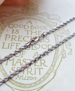 "9ct White Gold Diamond Cut 2mm Rope Chain Necklace 18"" 20"""