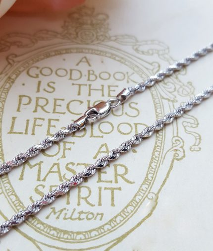 """9ct White Gold Diamond Cut 2mm Rope Chain Necklace 18"""" 20"""""""