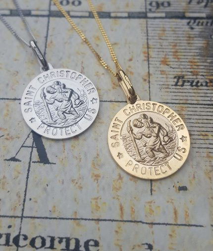 9ct Gold 1.5cm St Christopher Pendant Necklace in White or Yellow
