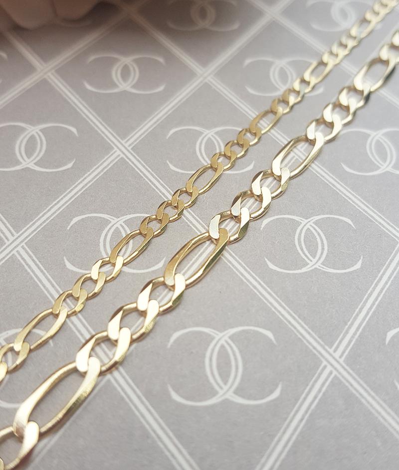 996a4ba7abd6f Solid 9ct Yellow Gold Diamond Cut Figaro Chain 18