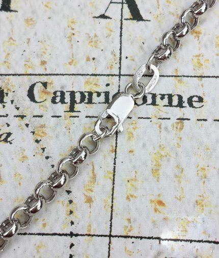 9ct White Gold Round Belcher 3.5mm Chain Necklace