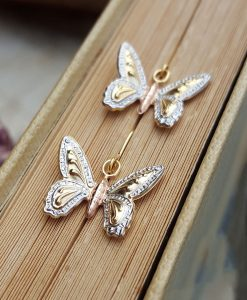 9ct Three Colour Gold Butterfly Drop Earrings