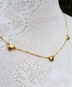 9ct yellow gold heart charm necklace