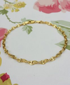 9ct Yellow Gold Gucci Style Mariner Bracelet 7.5""