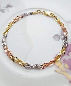 9ct Three Colour Gold Three Strand Twist Link Chain Bracelet