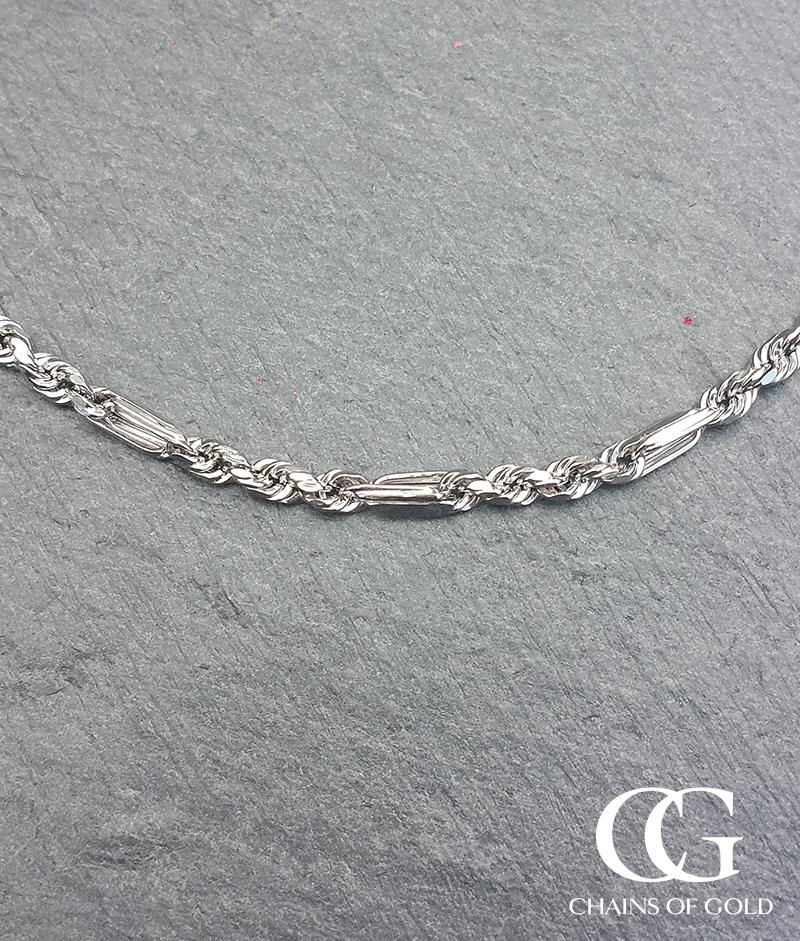 9ct White Gold Diamond Cut 1.7mm Figaro Rope Chain ...