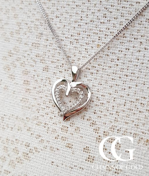 Fresh 9ct yellow gold heart necklace jewellrys website 9ct white gold diamond double heart pendant mozeypictures Choice Image