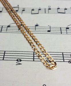 9ct Yellow Gold Diamond Cut Flat Curb 3.6mm Chain